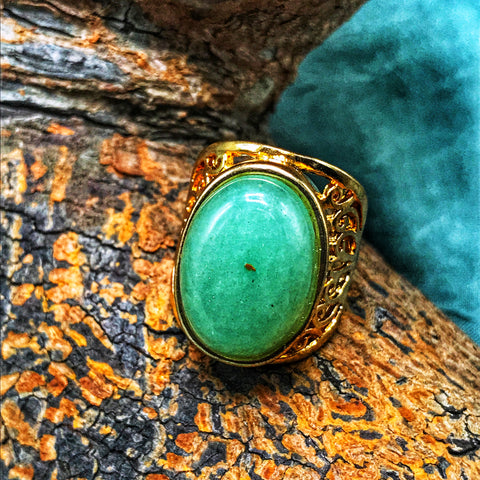 Simple Gemstone Ring with Gold Hardware