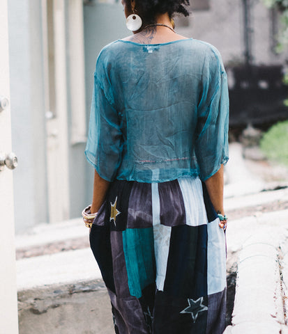Teal sheer shirt