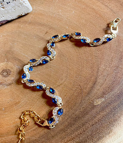 Royal Blue and Gold Waist Beads