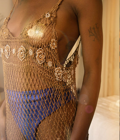 Handmade Bronze Goddess Crochet Dress