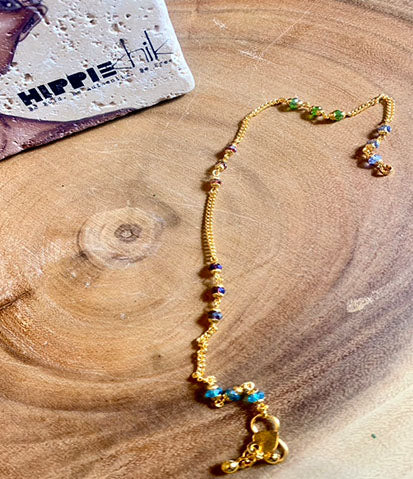 Gold Bali Multi Color Anklet