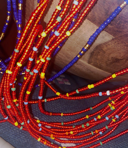 Bright Red Multicolored Waist Beads
