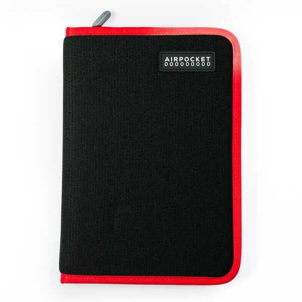Front view of Travelbook - holds all travel documents in a slim, flat case