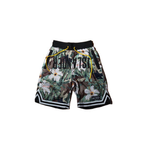 Camo Floral Athletic Jersey Shorts
