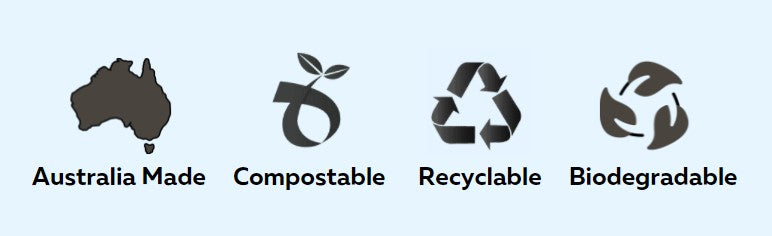 Recyclable, Compostable, Sustainable, Biodegradable, Australian Made