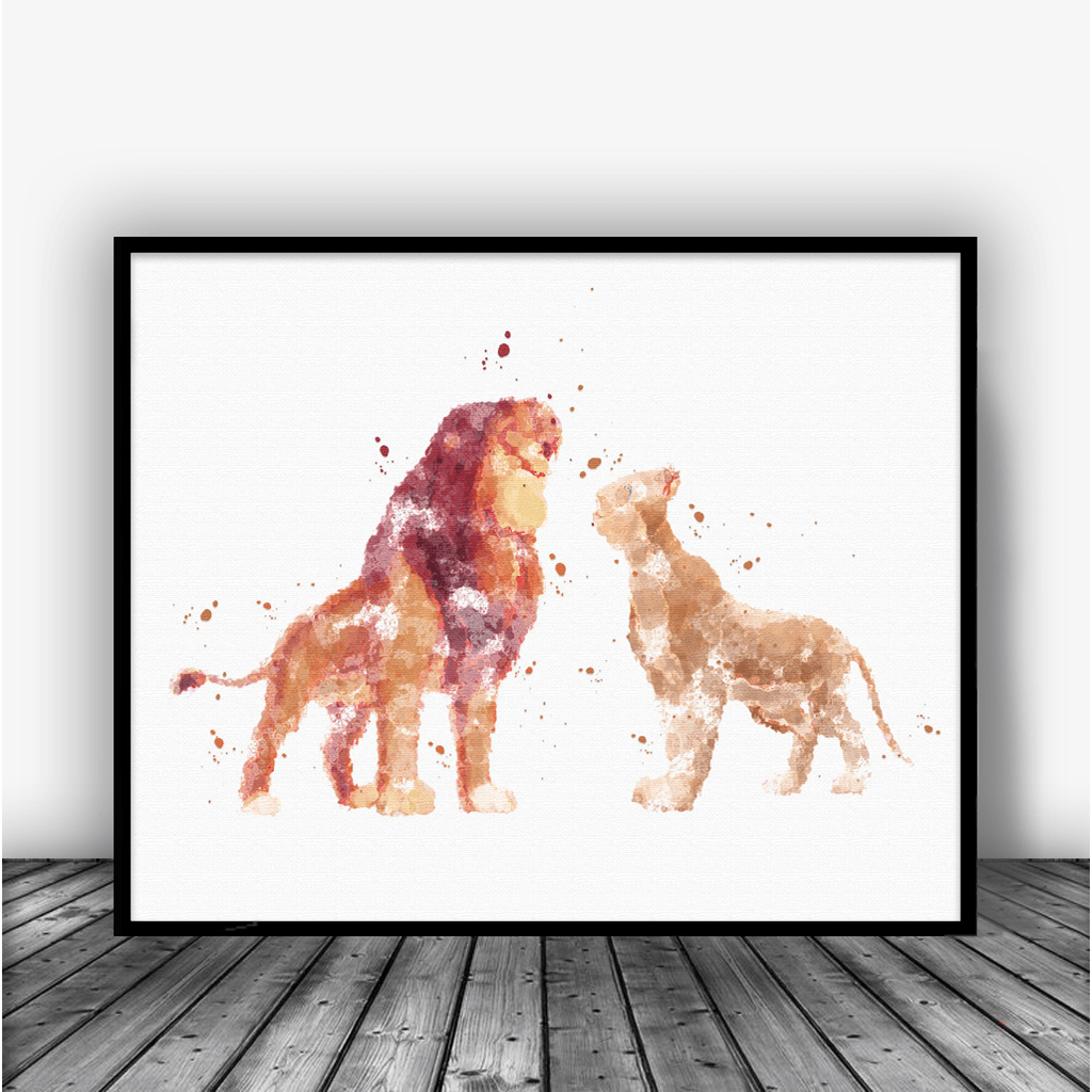 Simba and Nala, Lion King Art Print Poster - Carma Zoe