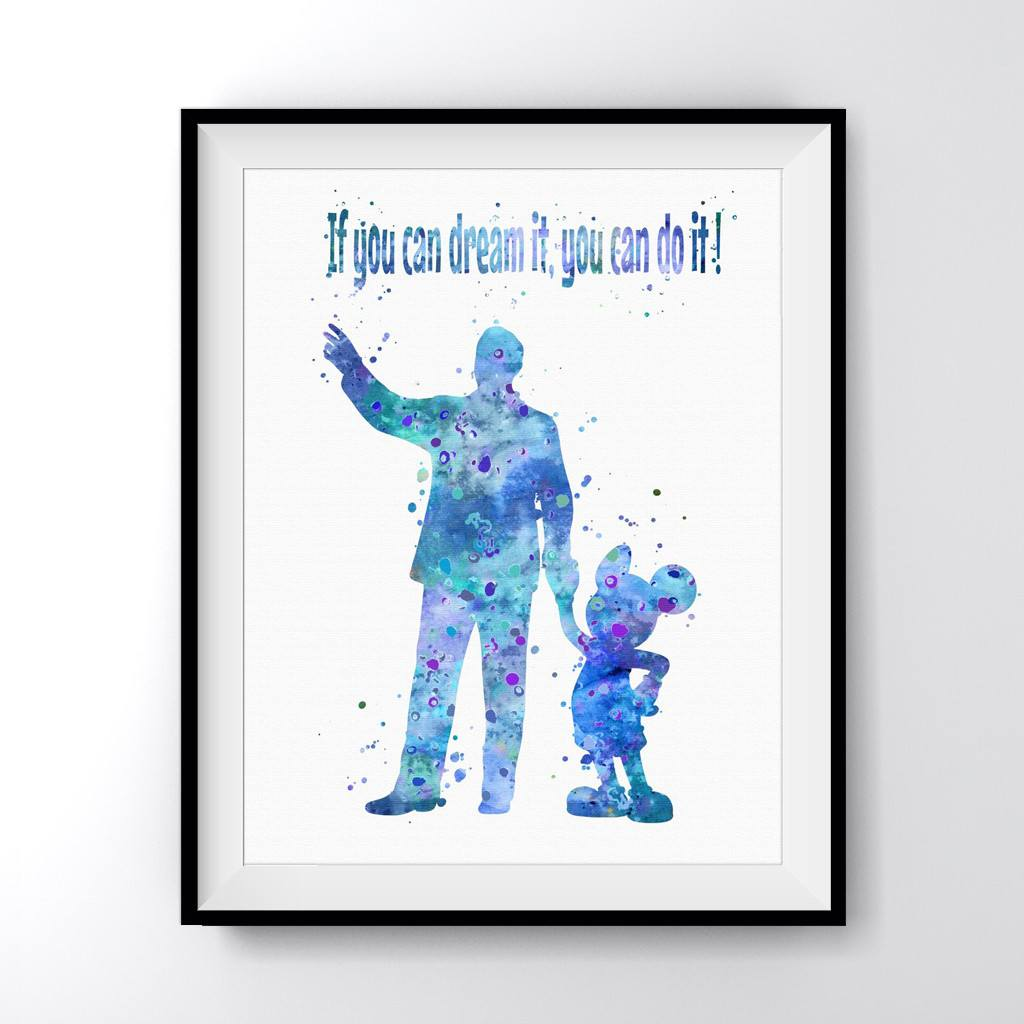 Walt Disney with Mickey Mouse Quote Art Print Poster
