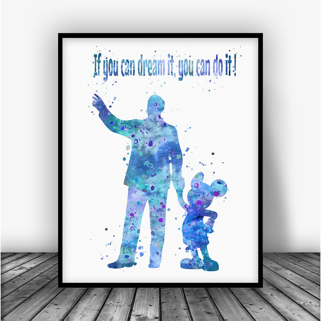Walt Disney With Mickey Mouse Quote Art Print Poster By Carma Zoe