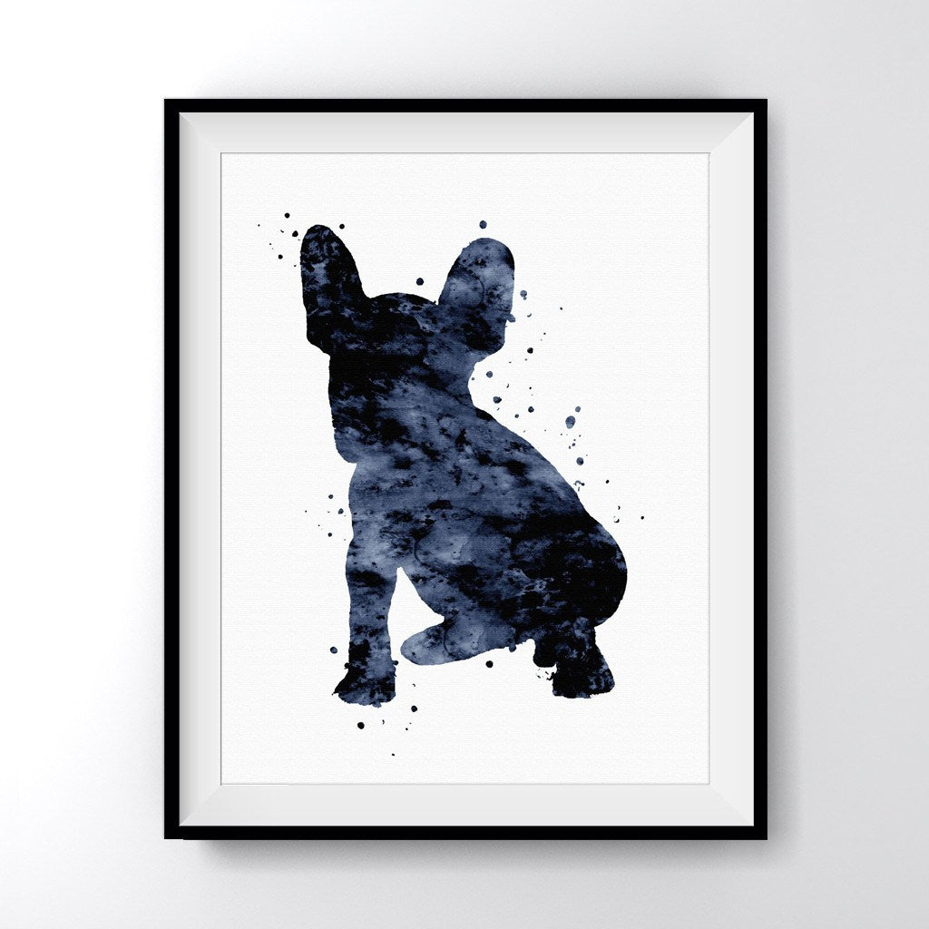 Frenchie Puppy Black Art Print Poster