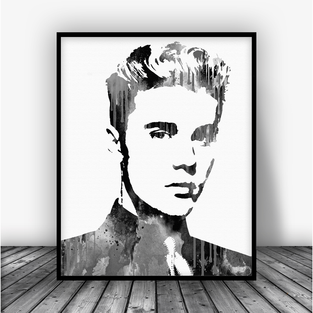 Justin bieber black art print poster carma zoe for Black and white celebrity prints