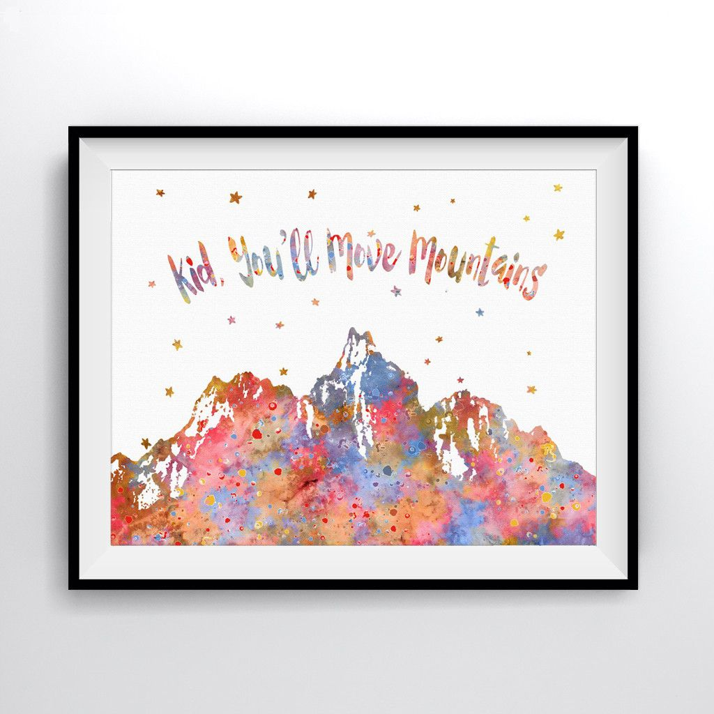 Kid Youll Move Mountains Dr Seuss Quote Art Print Poster
