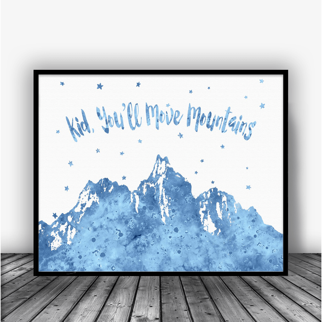 Kid Youll Move Mountains Blue Dr Seuss Quote Art Print Poster