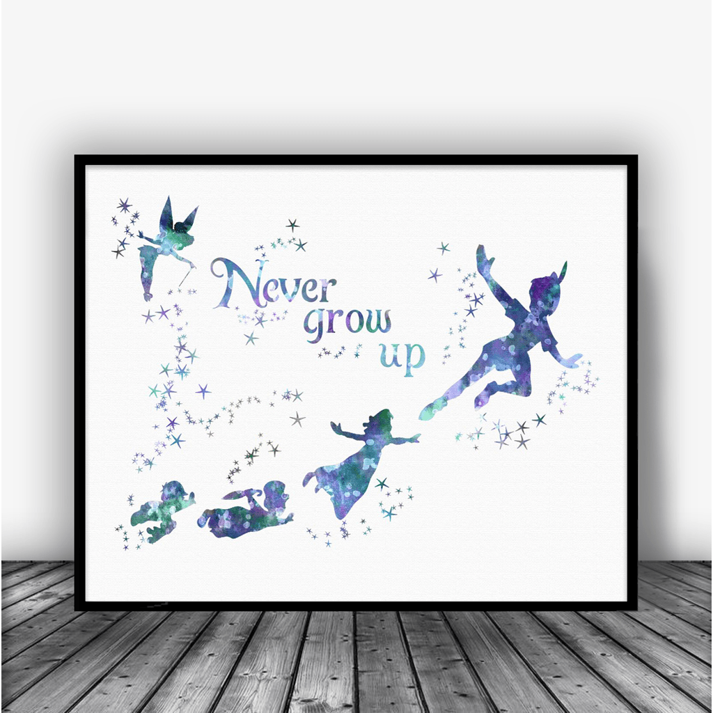 Peter Pan Quote Never Grow Up Art Print Poster Carma Zoe