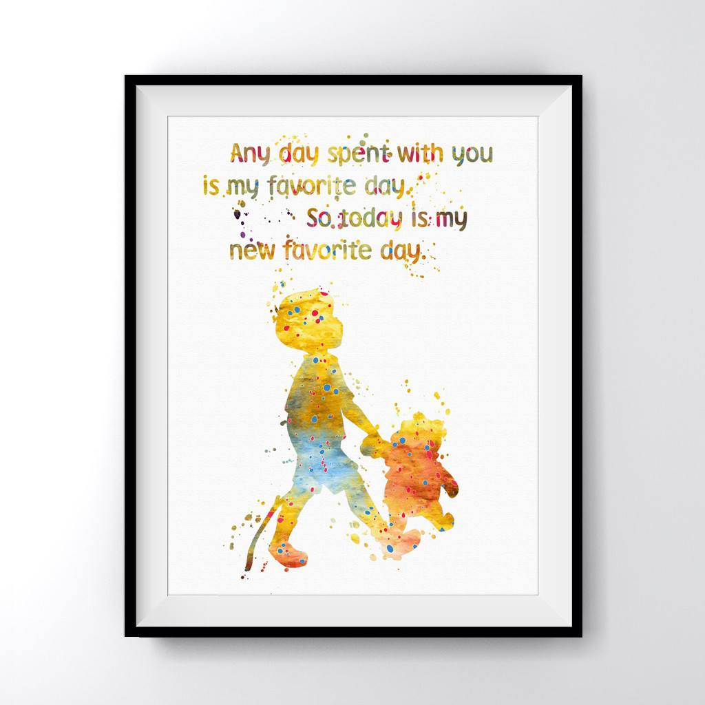 Winnie The Pooh Quote Art: Winnie The Pooh And Christopher Robin Quote Art Print