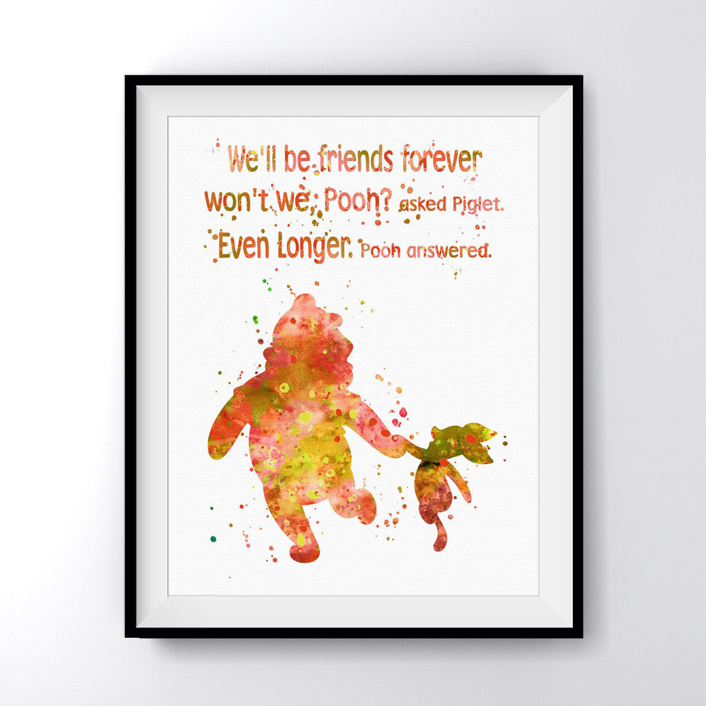 Pooh Quotes About Friendship: Winnie The Pooh Friendship Quote Art Print Poster