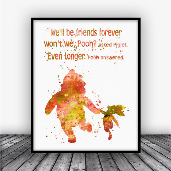 Winnie The Pooh Quote Art: Winnie The Pooh Friendship Quote Art Print Poster