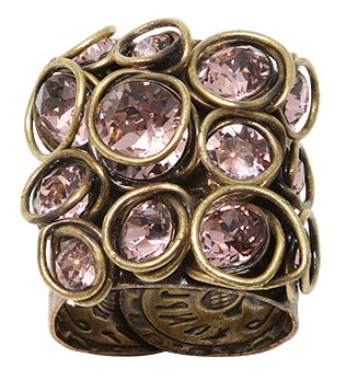 ring Sparkle Twist beige/pink antique brass big