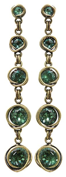 earring stud dangling Sparkle Twist green antique brass