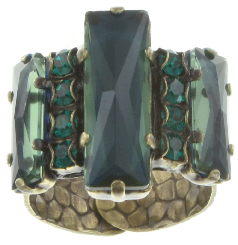 ring Manhattan Rocks blue/green antique brass