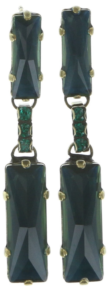 earring stud dangling Manhattan Rocks blue/green antique brass