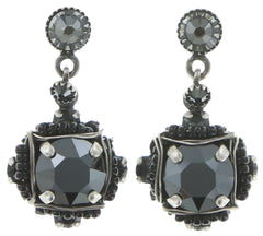 earring stud dangling Byzantine black antique silver