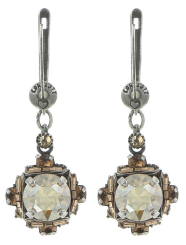 earring dangling Byzantine beige antique silver