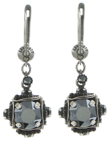 earring dangling Byzantine black antique silver