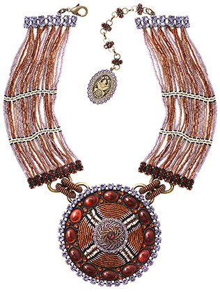 necklace collier African Glam brown/lila antique brass