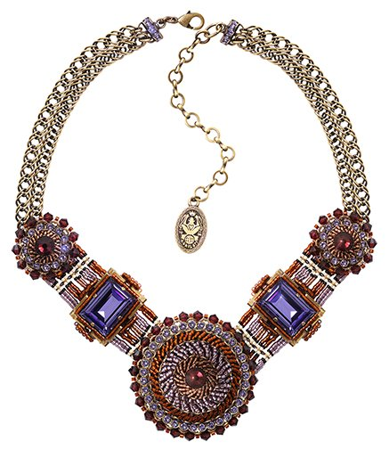 necklace African Glam brown/lila antique brass