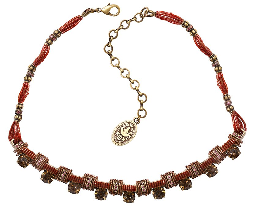 necklace African Glam red antique brass