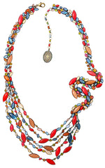 necklace collier Dance with Navette multi antique brass