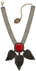 necklace-Y Queen of Elves black/red antique brass