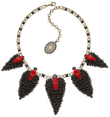 necklace Queen of Elves black/red antique brass