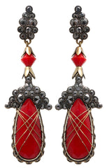 earring stud dangling Queen of Elves black/red antique brass