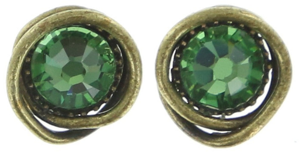 earring stud Sparkle Twist green antique brass SS 20