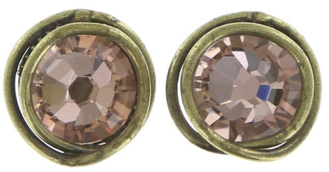 earring stud Sparkle Twist beige/pink antique brass SS 34