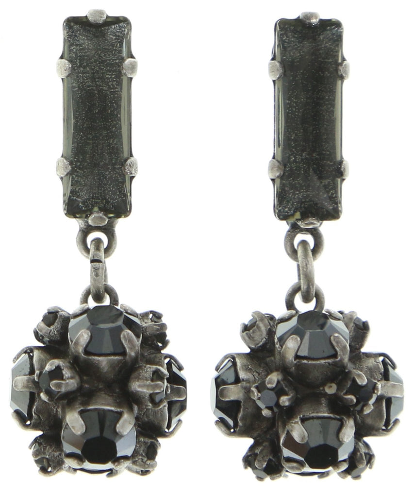 earring stud dangling Morgenstern black antique silver