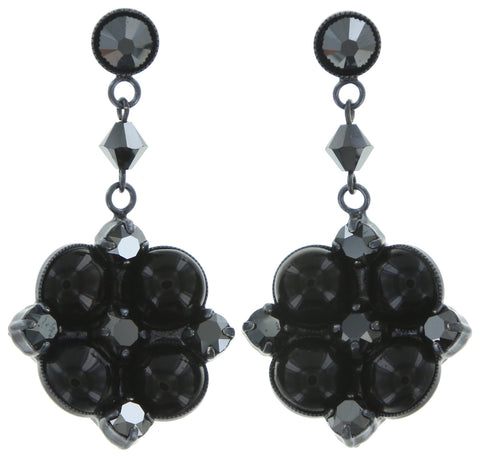 earring stud dangling Noir black gun metal