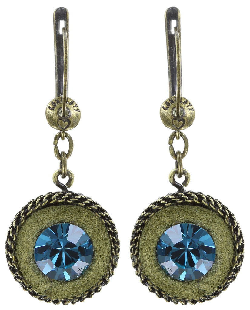 earring dangling Tribal blue/green antique brass