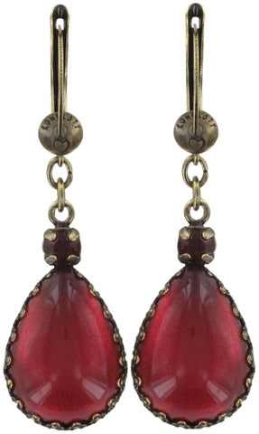 earring dangling Indian Paradise red antique brass