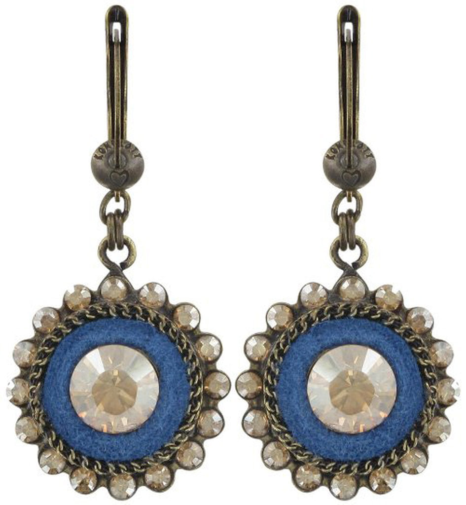 earring dangling Tribal beige/blue antique brass