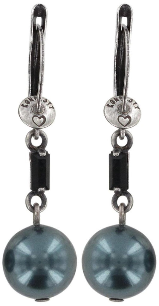 earring dangling Pearl Shower black antique silver