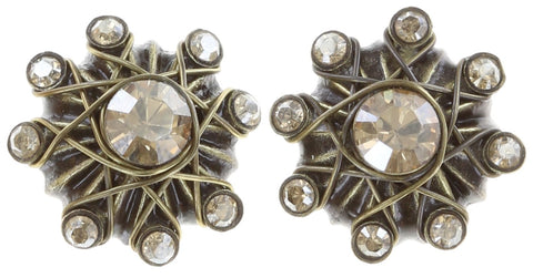 earring stud Oriental Architecture beige antique brass