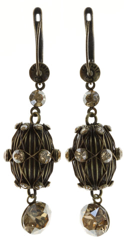 earring dangling Oriental Architecture beige antique brass