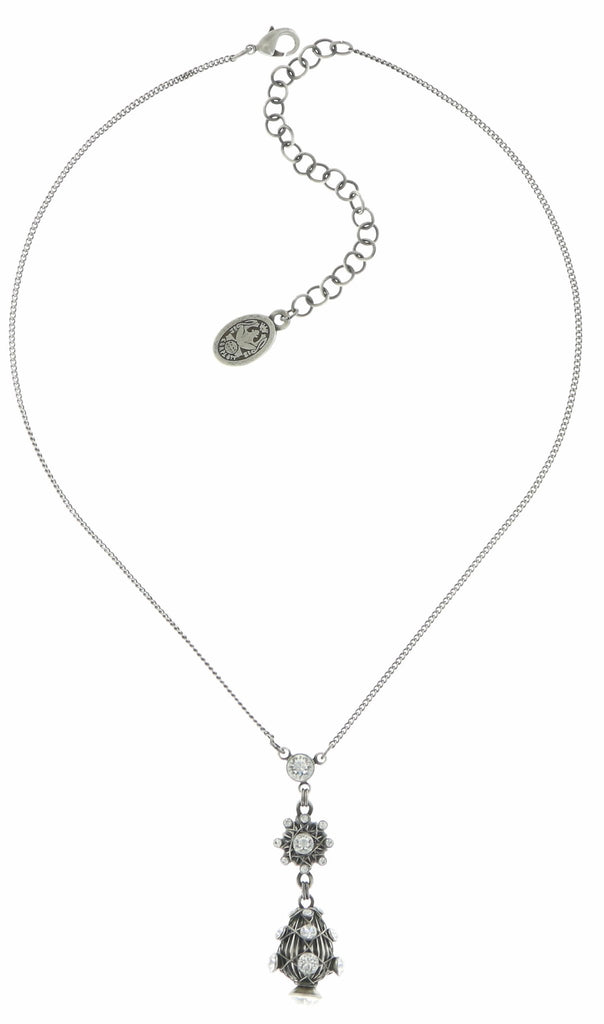 necklace-Y Oriental Architecture white antique silver