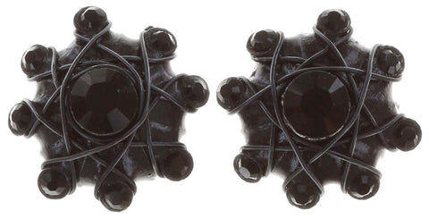 earring stud Oriental Architecture black gun metal