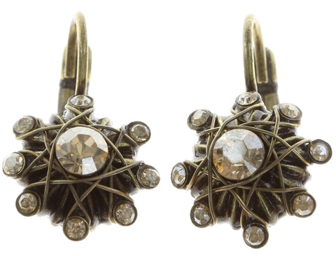 earring eurowire Oriental Architecture beige antique brass