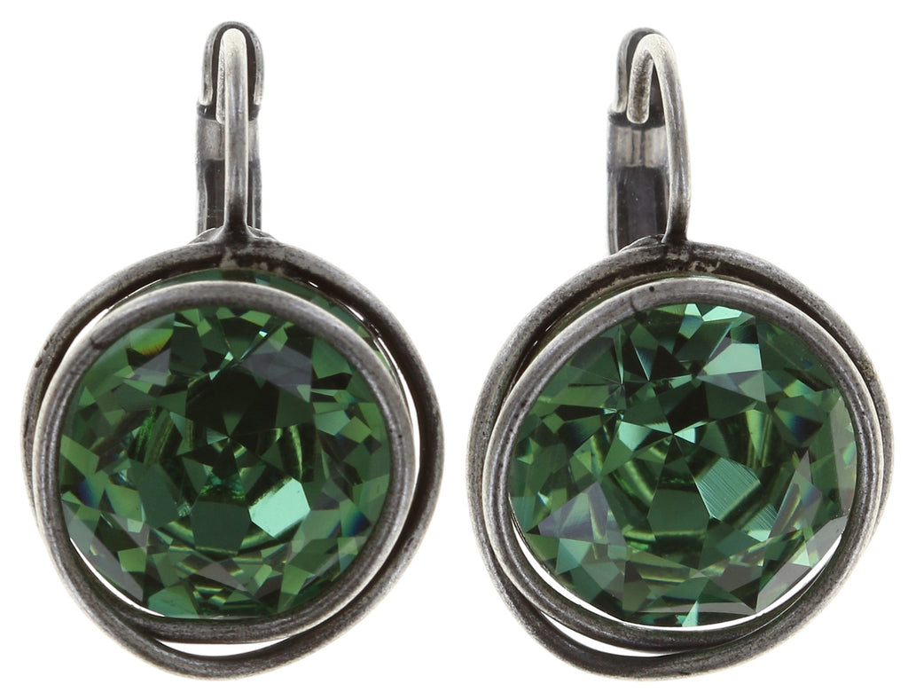 earring eurowire Sparkle Twist green antique silver