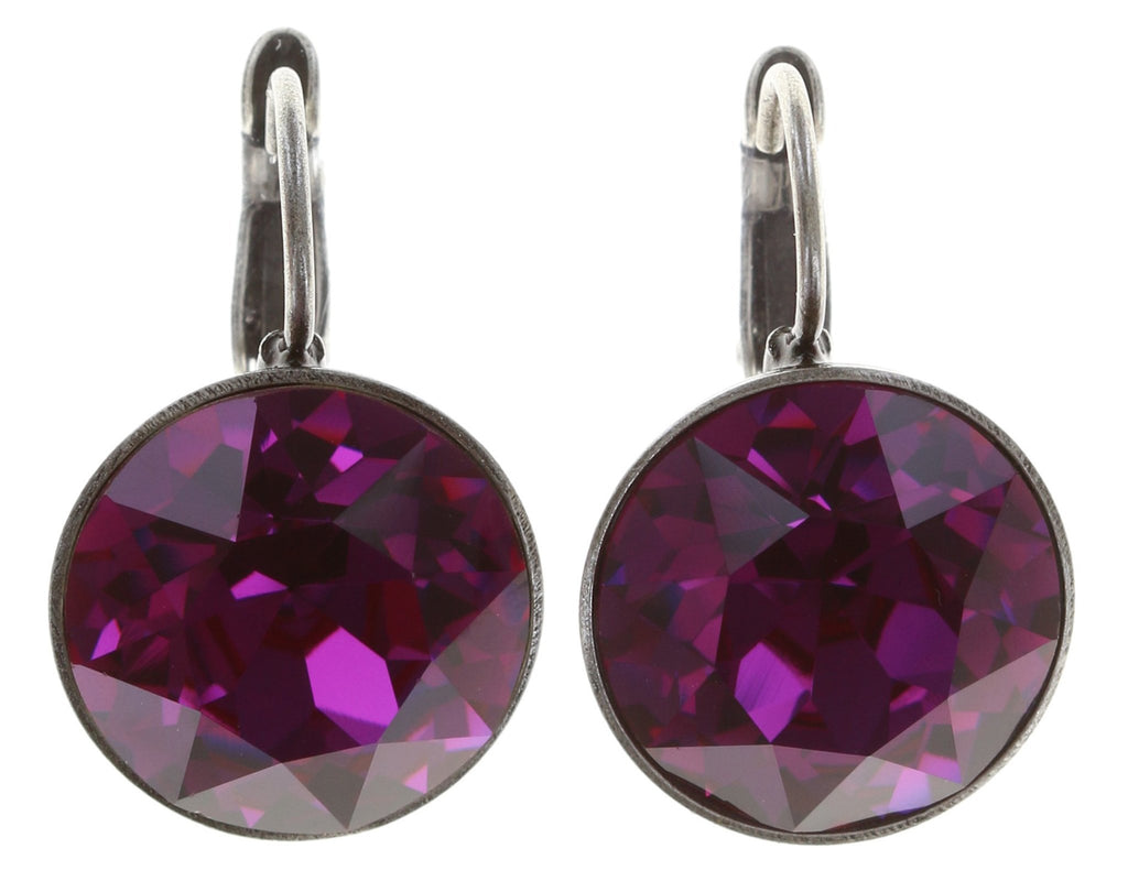 earring eurowire Casino dark pink antique silver
