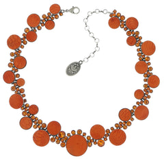 necklace Planet River orange antique silver